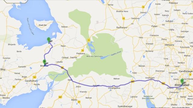Road Map From Ahmedabad to Ekal Ki Rann
